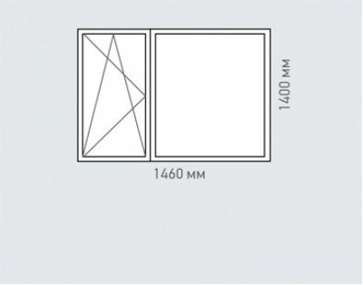 Окно двухстворчатое Rehau Brillant для домов серии п-3