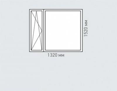Окно двухстворчатое Rehau Brillant для домов серии и-68