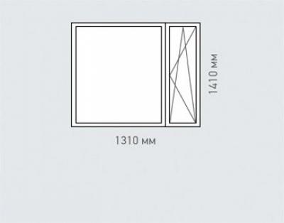 Окно двухстворчатое Rehau Brillant для домов серии 1605-12