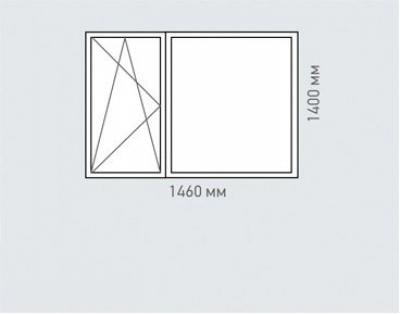 Окно двухстворчатое Rehau Delight для домов серии п-3