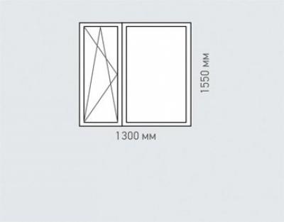 Окно двухстворчатое REHAU Estet для дома серии Тишинская