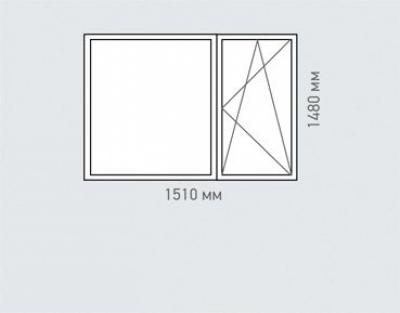 Окно двухстворчатое 2 Rehau Brillant серия п-55м