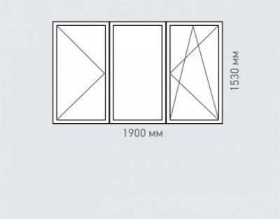 Окно трехстворчатое Rehau Grazio Серии    -18