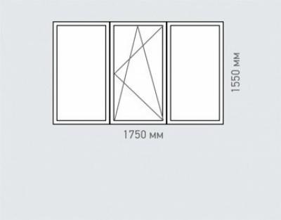Окно трехстворчатое REHAU Estet для дома серии I-491-A