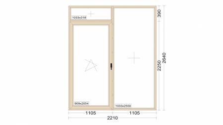 Алюминиевое окно серия 72 (теплое) 2210*2640