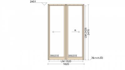 Алюминиевое окно серия 65 (теплое) 1620*2476