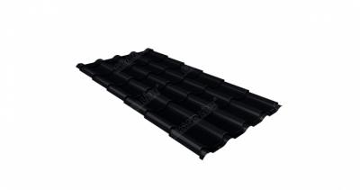 Металлочерепица камея 0,5 Стальной бархат RAL 9005 черный