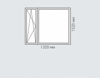 Окно двухстворчатое Rehau Grazio для дома серии и-68