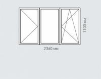 Окно трехтворчатое Rehau Grazio для дома серии П-1600 ЛГ