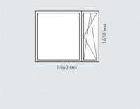 Окно двухтворчатое  Rehau Grazio для дома серии П-46