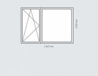 Окно двухстворчатое Rehau Brillant для домов серии п-43