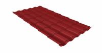 Металлочерепица кредо Grand Line 0,5 Atlas с пленкой RAL 3011 коричнево-красный