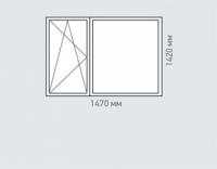 Окно двухстворчатое Rehau Brillant для домов серии копэ