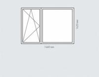 Окно двухстворчатое Rehau Delighttдля домов серии п-44т