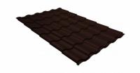 Металлочерепица кредо Grand Line 0,5 GreenСoat Pural RR 887 шоколадно-коричневый (RAL 8017 шоколад)