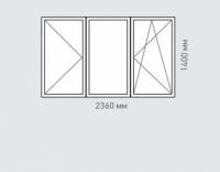 Окно трехтворчатое 2 Rehau Grazio для дома серии П-1600 ЛГ