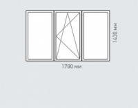 Окно трехтворчатое  Rehau Grazio для дома серии П-46