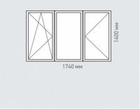 Окно трехстворчатое Rehau Brillant для домов серии п-3