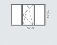 Окно трехстворчатое Rehau Brillant серия п-42