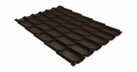 Металлочерепица модерн 0,45 PE RR 32 темно-коричневый