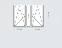 Окно двухстворчатое Rehau Geneo