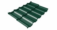 Металлочерепица модульная квинта Uno Grand Line c 3D резом 0,5 Satin RAL 6005 зеленый мох