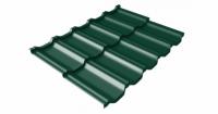 Металлочерепица модульная квинта Uno Grand Line c 3D резом 0,5 Polydexter RAL 6005 зеленый мох