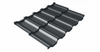 Металлочерепица модульная квинта Uno Grand Line c 3D резом 0,5 GreenСoat Pural Matt RR23 (RAL 7016 антрацитово-серый)