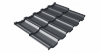 Металлочерепица модульная квинта Uno Grand Line c 3D резом 0,5 GreenСoat Pural Matt RR 23 темно-серый (RAL 7024 мокрый асфальт)