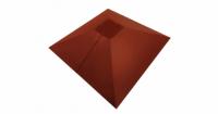 Колпак на столб под фонарь 390х390мм 0,5 GreenCoat Pural с пленкой RR 750 кирпично-красный (RAL 8004 терракота)