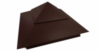 Колпак на столб двойной 390х390мм 0,5 Satin с пленкой RAL 8017 шоколад