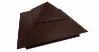 Колпак на столб двойной 390х390мм 0,5 Atlas с пленкой RAL 8017 шоколад
