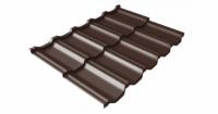 Металлочерепица модульная квинта Uno Grand Line c 3D резом 0,5 Atlas RAL 8017 шоколад