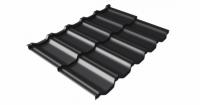 Металлочерепица модульная квинта Uno Grand Line c 3D резом 0,45 Drap RAL 9005 черный