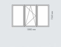 Окно трехстворчатое Rehau Brillant для домов серии II-49