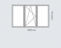 Окно трехстворчатое Rehau  Delight для домов серии ||-49