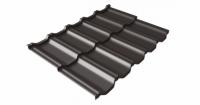 Металлочерепица модульная квинта Uno Grand Line c 3D резом 0,5 Satin RR 32 темно-коричневый